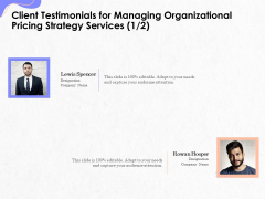 Pricing Profitability Management Client Testimonials For Managing Organizational Pricing Strategy Services Sample PDF