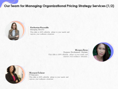 Pricing Profitability Management Our Team For Managing Organizational Strategy Services Guidelines PDF