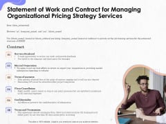 Pricing Profitability Management Statement Of Work And Contract For Managing Organizational Strategy Services Summary PDF