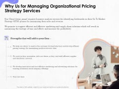 Pricing Profitability Management Why Us For Managing Organizational Pricing Strategy Services Themes PDF