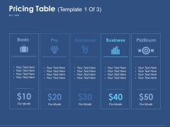 Pricing Table Ppt PowerPoint Presentation Slides Graphics