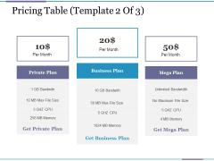 Pricing Table Template 2 Ppt PowerPoint Presentation Portfolio Topics