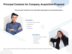 Principal Contacts For Company Acquisition Proposal Ppt PowerPoint Presentation Portfolio Samples