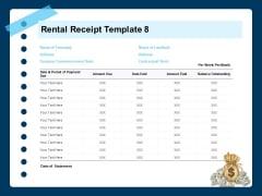 Printable Rent Receipt Rental Receipt Template Paid Ppt Icon Designs PDF