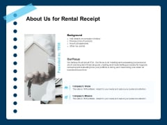 Printable Rent Receipt Template About Us For Rental Receipt Ppt Infographics Professional PDF