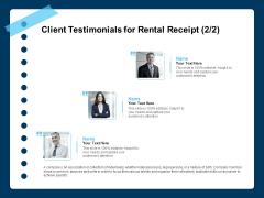 Printable Rent Receipt Template Client Testimonials For Rental Receipt Planning Ppt PowerPoint Presentation Pictures Graphics PDF