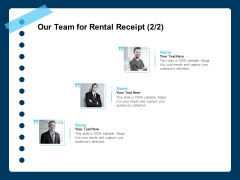 Printable Rent Receipt Template Our Team For Rental Receipt Ppt File Structure PDF
