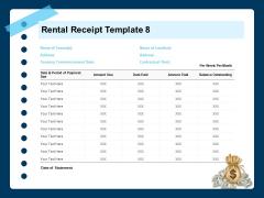 Printable Rent Receipt Template Rental Receipt Commencement Ppt PowerPoint Presentation Slide Download PDF