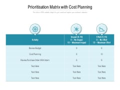Prioritisation Matrix With Cost Planning Ppt PowerPoint Presentation Infographics Information PDF