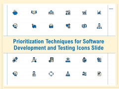Prioritization Techniques For Software Development And Testing Icons Slide Clipart PDF