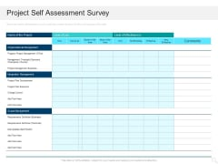 Prioritizing Project With A Scoring Model Project Self Assessment Survey Elements PDF