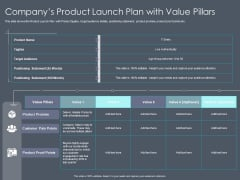 Private Equity Fund Pitch Deck To Raise Series C Funding Companys Product Launch Plan With Value Pillars Structure PDF