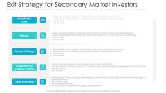 Private Equity Fundraising Pitch Deck Exit Strategy For Secondary Market Investors Information PDF