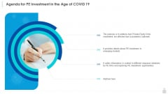Private Funding In The Age Of COVID 19 Agenda For PE Investment In The Age Of COVID 19 Template PDF