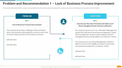 Problem And Recommendation 1 Lack Of Business Process Improvement Introduction PDF