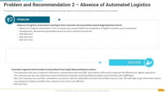 Problem And Recommendation 2 Absence Of Automated Logistics Template PDF