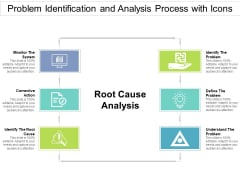 Problem Identification And Analysis Process With Icons Ppt PowerPoint Presentation File Visuals PDF