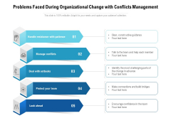 Problems Faced During Organizational Change With Conflicts Management Ppt PowerPoint Presentation Icon Portfolio PDF