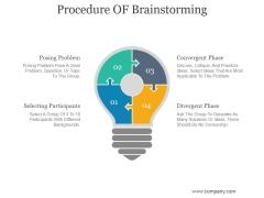 Procedure OF Brainstorming Ppt PowerPoint Presentation Sample