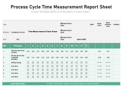 Process Cycle Time Measurement Report Sheet Ppt PowerPoint Presentation Ideas Professional PDF