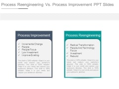 Process Reengineering Vs Process Improvement Ppt Slides