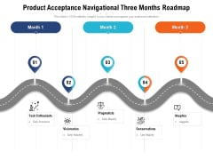 Product Acceptance Navigational Three Months Roadmap Infographics