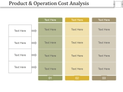 Product And Operation Cost Analysis Ppt PowerPoint Presentation Layouts Layout Ideas
