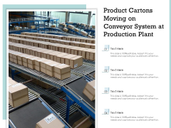Product Cartons Moving On Conveyor System At Production Plant Ppt PowerPoint Presentation Ideas Gallery PDF