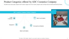 Product Categories Offered By ADC Cosmetics Company Guidelines PDF