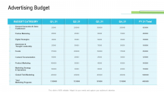 Product Commercialization Action Plan Advertising Budget Ppt Infographics Mockup PDF