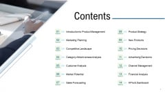 Product Commercialization Action Plan Contents Ppt Professional Design Inspiration PDF