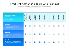Product Comparison Table With Features Ppt PowerPoint Presentation Layouts Inspiration PDF