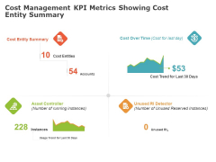 Product Cost Management PCM Cost Management KPI Metrics Showing Cost Entity Summary Ppt Layouts Slide Download PDF