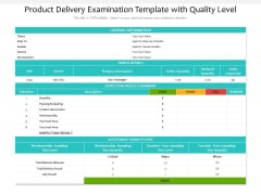 Product Delivery Examination Template With Quality Level Ppt PowerPoint Presentation Layouts Gallery PDF