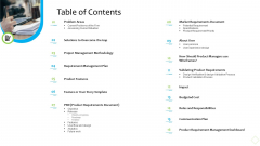 Product Demand Administration Table Of Contents Brochure PDF