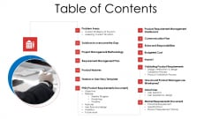 Product Demand Document Table Of Contents Ppt Visuals PDF