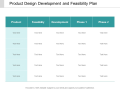 Product Design Development And Feasibility Plan Ppt Powerpoint Presentation Visuals