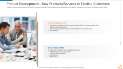 Product Development New Products Services To Existing Customers Mockup PDF