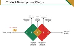 Product Development Status Ppt PowerPoint Presentation Summary Brochure