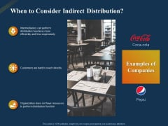 Product Distribution Sales And Marketing Channels When To Consider Indirect Distribution Ppt Infographic Template Slide PDF