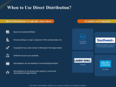 Product Distribution Sales And Marketing Channels When To Use Direct Distribution Ppt Slides Example File PDF