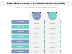 Product Features Analysis Based On Usability And Reliability Ppt PowerPoint Presentation File Themes PDF