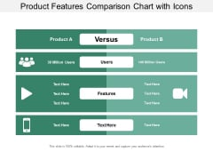 Product Features Comparison Chart With Icons Ppt Powerpoint Presentation Portfolio Diagrams