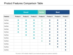 Product Features Comparison Table Ppt Powerpoint Presentation Ideas Vector