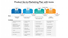 Product Go To Marketing Plan With Icons Ppt Icon Shapes PDF