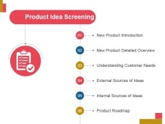 Product Idea Screening Ppt PowerPoint Presentation Infographic Template