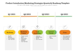 Product Introduction Marketing Strategies Quarterly Roadmap Template Structure