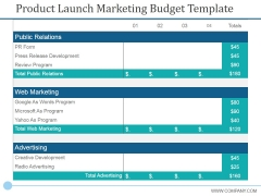 Product Launch Marketing Budget Template Ppt PowerPoint Presentation Layouts Styles