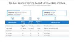Product Launch Training Report With Number Of Hours Ppt PowerPoint Presentation Inspiration Master Slide PDF