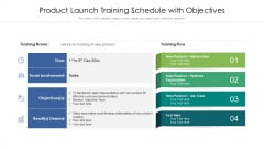 Product Launch Training Schedule With Objectives Ppt PowerPoint Presentation Slides Graphics PDF